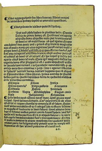 Marginal annotations in Albertus Magnus [pseudo-]: Liber aggregationis, seu Liber secretorum de virtutibus herbarum, lapidum et animalium quorundam