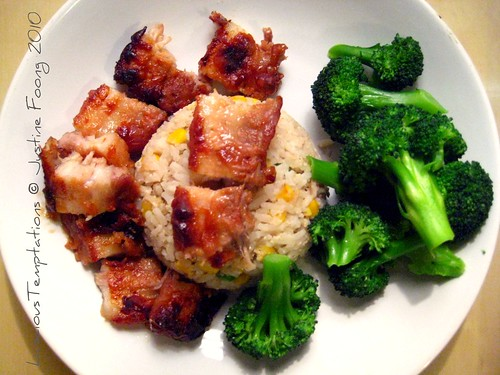 Roasted Belly of Pork, Broccoli and Rice - Weeknight Dinner