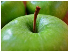 Whole in one (apple) (Anniko 1996) Tags: green apple march stick grn grannysmith apfel 2010 onexplore stiel anniko vanagram