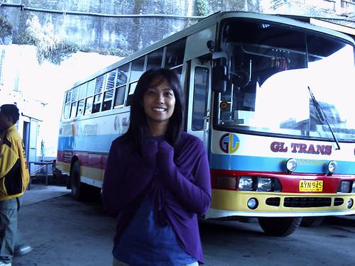 Stacey awaiting for the bus to Sagada