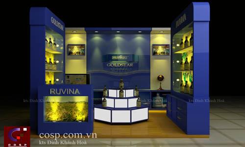Thiết kế gian hàng rượu Ruvina