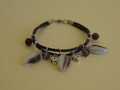 Leaves Bracelet (ONE by one) Tags: leaves purple handmade swap bracelet amethyst 2010 pulseras enviado onebyone vesstha pulserasdecuero