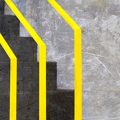 Abstract (Yellow lines) (tanakawho) Tags: abstract texture yellow architecture photoshop stair gray line step squareformat layer railing postproduction treatment tanakawho