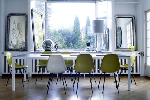 green Eames dining chairs by A Merry Mishap blog.