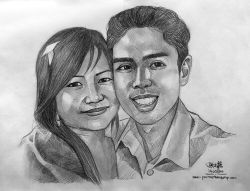 couple portraits in pencil 140310