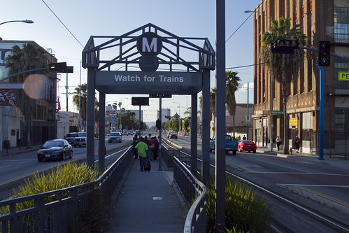 I observed many people at the San Pedro Station crossing the track illegally due the long wait for a walk signal.