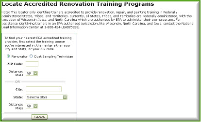 EPA Lead Renovation Trainer Locator