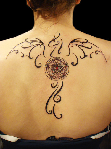 Bird Tribal Tattoos Design for Backside Women