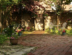 Try to remember... (rosy outlook photography) Tags: flowers home stone bench morninglight birdbath courtyard bistro shade containergardening myofficeview sunshowers rosyoutlookphotography antiquepavers themrsdesign