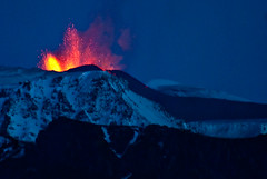 Volcano erupts in Iceland - 21. march 2010 (jovinsson) Tags: blue winter shadow red sky mountain snow ice nature water night landscape fire volcano lava iceland cool evacuation colorfull huge eruption brutal katla icelandic snjr longexposer erupts fimmvruhls myrdalsjokull ashcloud