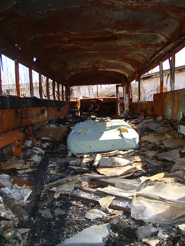 Burned out school bus