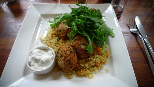 Spiced Chickpea and Harrisa Fritters with Almond Apricot Cous Cous