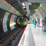 London Tube train arriving in anaglyph 3D red blue / cyan glasses thumbnail