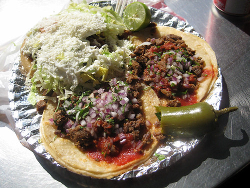 chicken sope, two carne asada tacos
