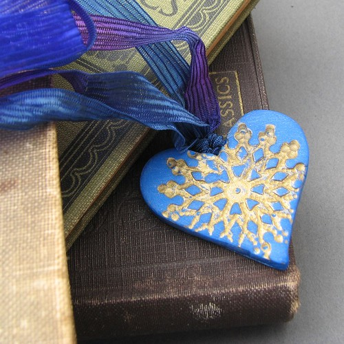 Handmade Gold Filigree Stamped Blue Heart Necklace