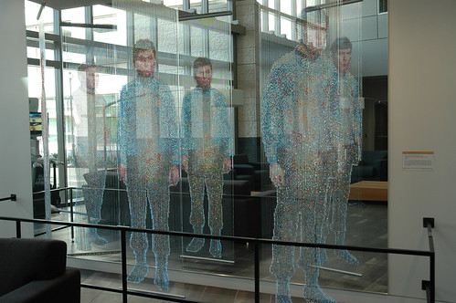 Backlit, sculpture by Devorah Sperber, Spock, Kirk and McCoy: Beaming-In (In-Between), Microsoft, Studio D, Redmond, Washington, USA