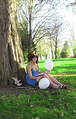 little girl blue. (karrah.kobus) Tags: blue trees bunny green girl grass fairytale balloons little coloring crayons storybook markers slippers