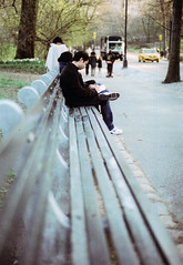 (uhmmmjulia) Tags: park city nyc man film me analog 35mm bench reading pentax taxi central crossword super puzzle