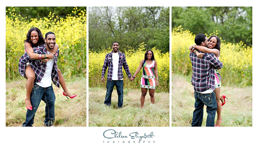 playful engagement session in the mustard fields