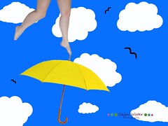 181/365 (OceanBaby-in-SLC) Tags: portrait sky woman feet me birds clouds umbrella self project myself flying toes mine legs cartoon dream days stick 365 vector tippy 365days i