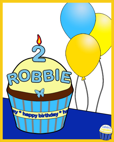 Robbie's 2nd Birthday Cupcake