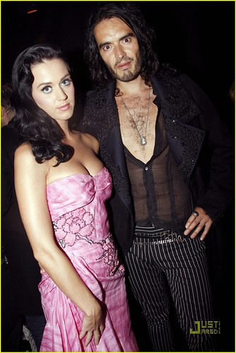 Katy Perry and Russell Brand attend John Galliano Pret a Porter show as part of the Paris Womenswear Fashion Week Spring/Summer 2010 at Halle Freyssinet on October 7, 2009 in Paris, France.