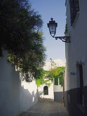 Granada, old street in the Albacin district (Sokleine) Tags: houses heritage architecture spain streetlamp andalucia espana granada andalusia espagne