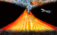 Flying Over the Flowering Volcano (Rusty Russ) Tags: flowers color composite photoshop magazine airplane t creativity volcano fly photo yahoo