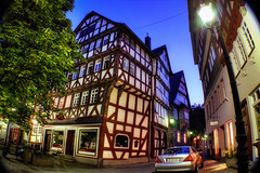 One Evening in Herborn/Germany (Werner Kunz) Tags: world old city trip travel blue trees vacation sky moon holiday reflection tower art water wall night river germany dill deutschland photography rising lights evening photo cozy nice nikon mainstreet europa europe foto hessen wideangle best german fortress deutsch werner hauptstrasse fachwerk antike kunz ultrawideangle herborn lahndillkreis nikond90 werkunz1 wernerkunz citabelle