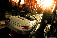 Porsche Boxster 986 (Alexis Goure) Tags: auto alexis bridge light shadow sun sunlight cars car sparkles canon lens soleil day top down automotive voiture ombre jour sparkle german coche porsche lumiere flare pont autos etoile coches voitures roadster 986 30d decapotable bosxter allemande goure sixela