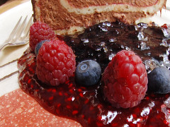 Swimming in Sweetness (Gosling Gray) Tags: red cake fruit dessert sweet chocolate style sugar seeds raspberries blueberries mousse decadent