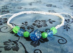 Blue and green hemp dice bracelet or anklet