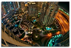 Planet Marina (DanielKHC) Tags: night digital marina interestingness high nikon dubai looking dynamic uae vertigo down fisheye explore 16 range fp frontpage dri hdr blending d300 marinawalk danielcheong nikkorfisheye105mmf28 danielkhc gettyimagesmeandafrica1