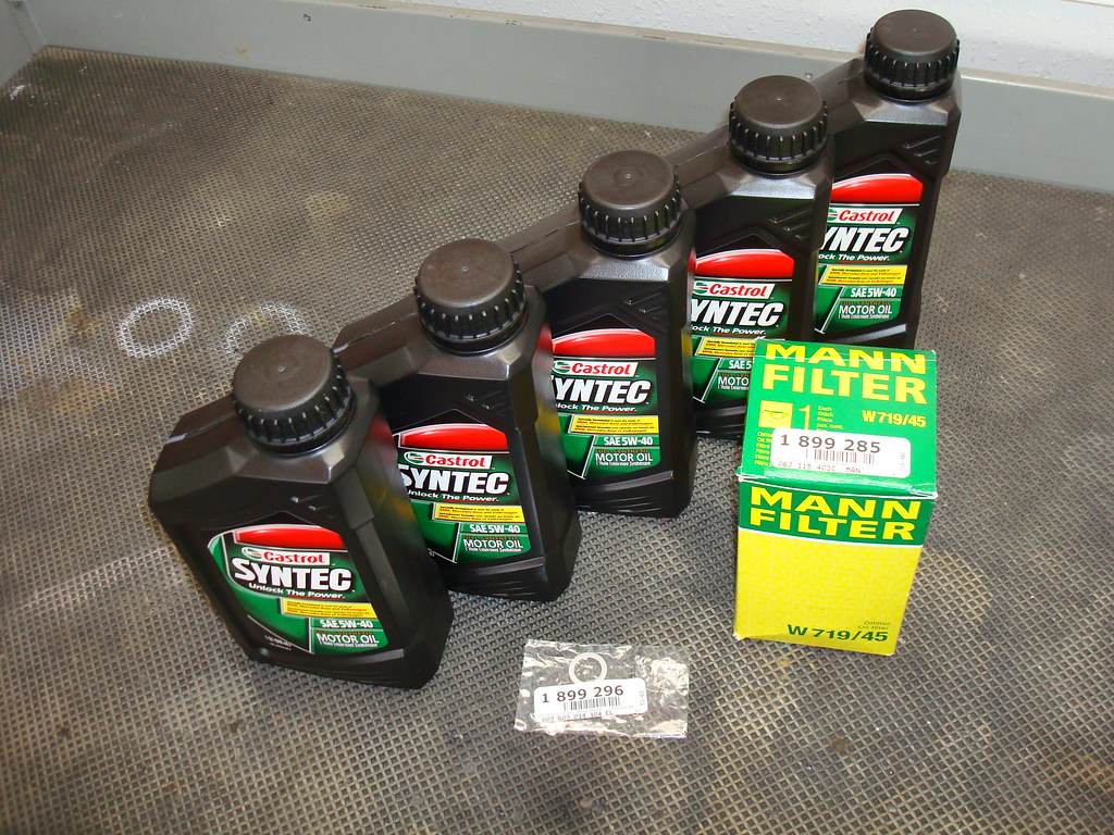 5qts of your favorite variety oil i used castrol syntec 5w40 oil filter drain plug seal crush washer