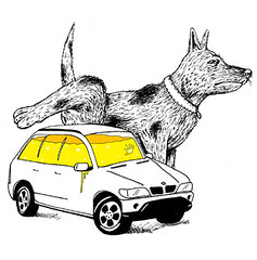 18-05-10 (Ronchhon) Tags: chien art pee car illustration drawing voiture dessin pisse ronchhon