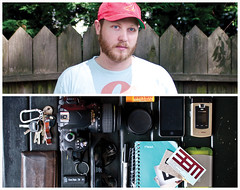Mike Diptych (J Trav) Tags: camera portrait sunglasses notebook lens keys persona diptych ipod phone wallet businesscards sharpie whatsinyourbag burtsbees jumpdrive businesscardholder nikond90 theitemswecarry