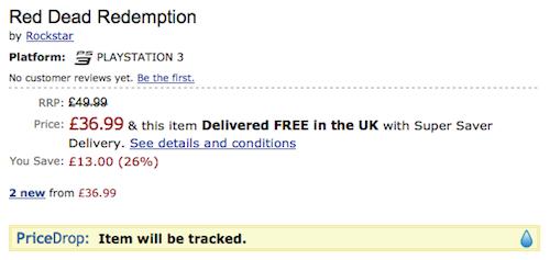 Captura de pantalla de PriceDrop sobre una página de Amazon UK viendo el videojuego Red Dead Redemption