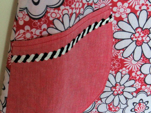 Red Flowery Reversible Apron