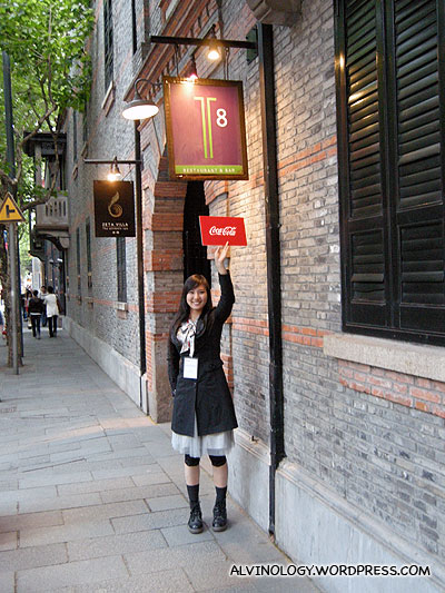 Our beautiful guide, Yang Yang, showing us the assembly point for dinner