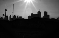 Hello Torontooooo (sniderscion) Tags: shadow urban bw sun sunlight white toronto ontario canada black hot silhouette skyline buildings dark scott 50mm nikon downtown cityscape glare bright towers canadian beam flare sunburst tall nikkor sunbeam starburst snider portlands f14d d80 nikkoraf50mmf14d sniderscion clanflickr