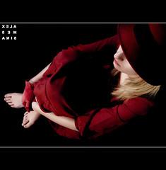 Lost in her Thoughts (Alex Messina) Tags: red black alex guanti girl beauty hat dark studio model glamour nikon skin flash d2x gloves 400 barefoot blonde passion lipstick lightning tamron rosso messina cappello bionda bowens sb800 modella 2875 monolite