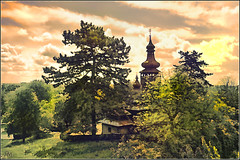 St. Michael's Church is the typical wooden church of Carpathian Ruthenia (OleksiyM) Tags: trip travel trees light vacation sky cloud tree art church nature architecture clouds spring construction arquitectura nikon europe religion ukraine woodenhouse eglise ua worldheritage ethnographicmuseum d300       proda scansen  ethnographic         oekrane krptalja   platinumheartaward  ukrainie lemkos zakarpacie
