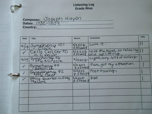 Music log sheet mine