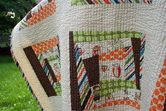 detail of wonky block (olive_and_ollie) Tags: blue orange brown green modern design quilt handmade sewing stripes cream quilting dots patchwork wonky amybutler alexanderhenry oliveandollie rileyblake
