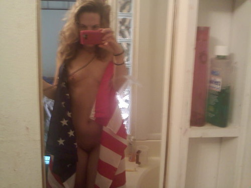 : sexy, woman, flag, mirror, hottie, patriotic, selfshot