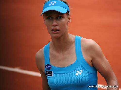 Elena Dementieva plays at the French Open Tennis Tournament at Paris
