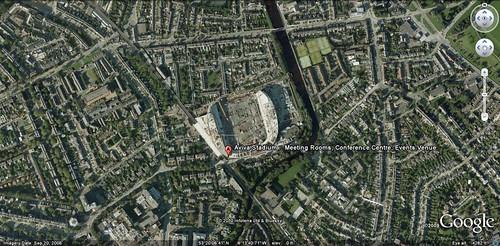 Dublin's Aviva Stadium under construction (via Google Earth)