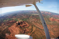 Sedona, AZ (gc232) Tags: from city light red arizona cactus orange flying san rocks sedona diego fisheye tokina cessna 172 1017mm ksez