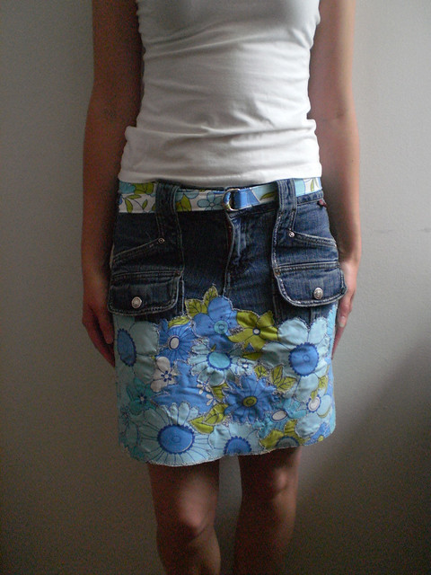 Front View Denim Patchwork Skirt
