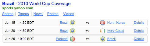 Brazil World Cup Coverage Yahoo! Shortcut